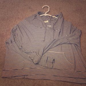 Cowl neck striped hoodie